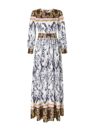 Abstract Printed Long Sleeve Dress - Gris Oscuro