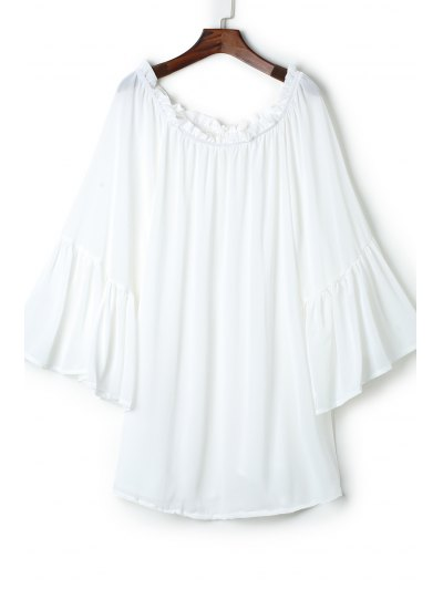See-Through Slash Neck Solid Color Cover-Up - White