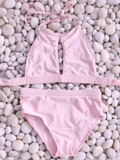 Pink High Neck Cut Out Bikini Set - Pink