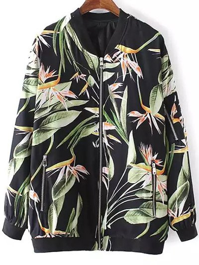 Tropical Print Stand Neck Long Sleeve Jacket - Black