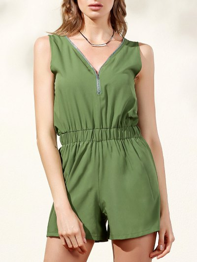 Sleeveless Zip Up Romper - Army Green