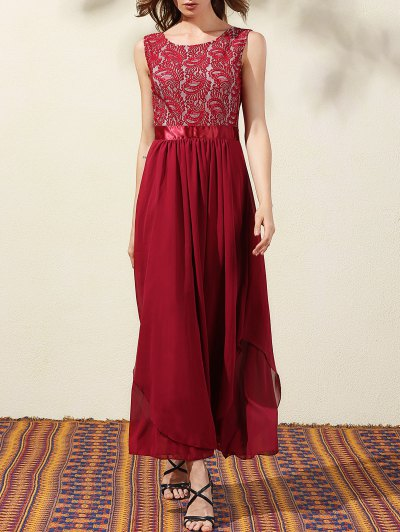 Lace Bodice Maxi Prom Dress - Wine Red