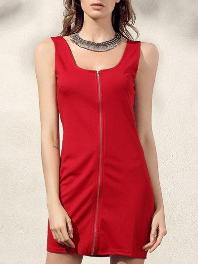 Bodycon Zip Dress - Red
