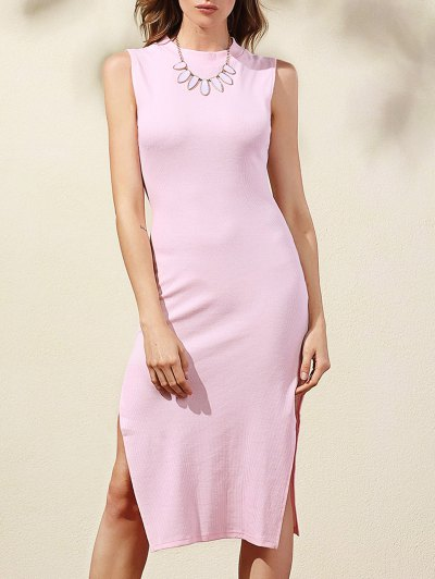 Side Slit Bodycon Dress - Pink