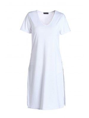 Plongeant blanc manches courtes T-shirt