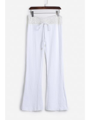 Lace Waist White Flare Pants