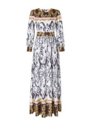 Abstract Printed Long Sleeve Dress - Deep Gray