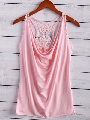 Lace Spliced Cowl Collar Tank Top - Pink