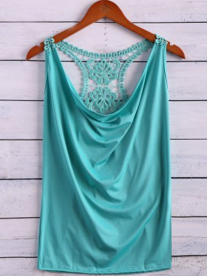 Lace Spliced Cowl Collar Tank Top - Light Green