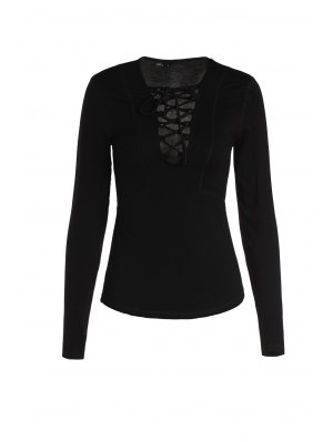 Pure Color Lucky Lace Up Top - Black