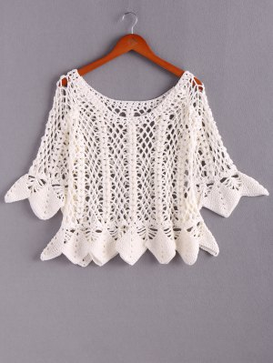 Solid Color Cut Out Round Neck Butterfly Sleeves Sweater - White