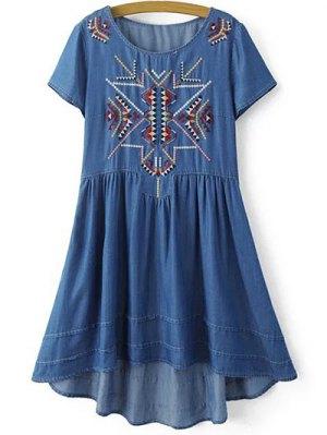 Ethnic Embroidery Round Neck Short Sleeve Dress - Blue