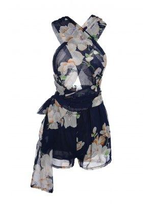 Plunging Neck Floral Print Self-Tie Romper - Purplish Blue