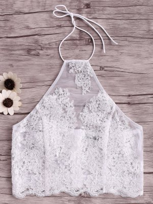 Embroidery Halter Lace Tank Top - White