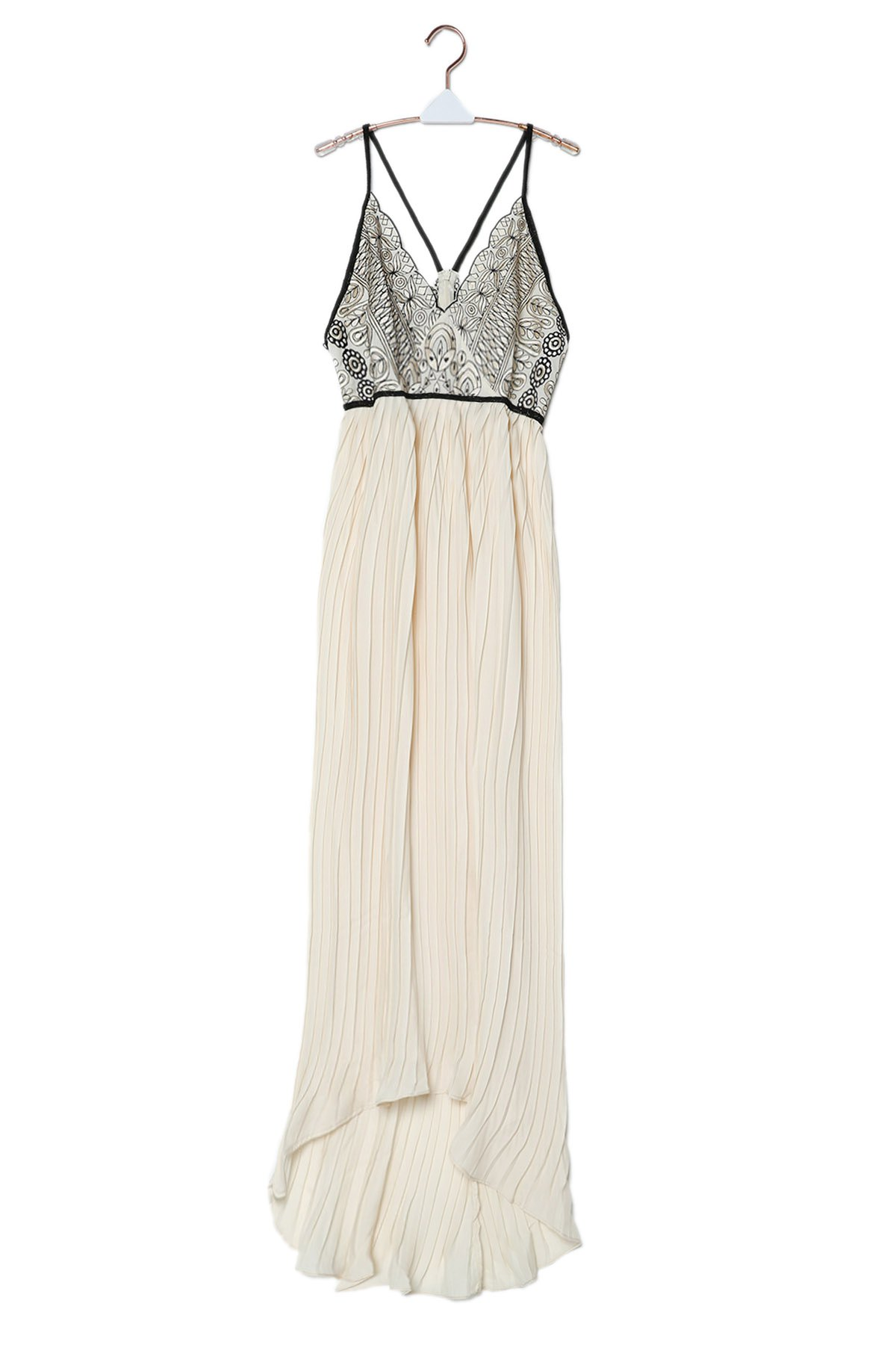 Chiffon Flowing Embroidered Pleated Dress