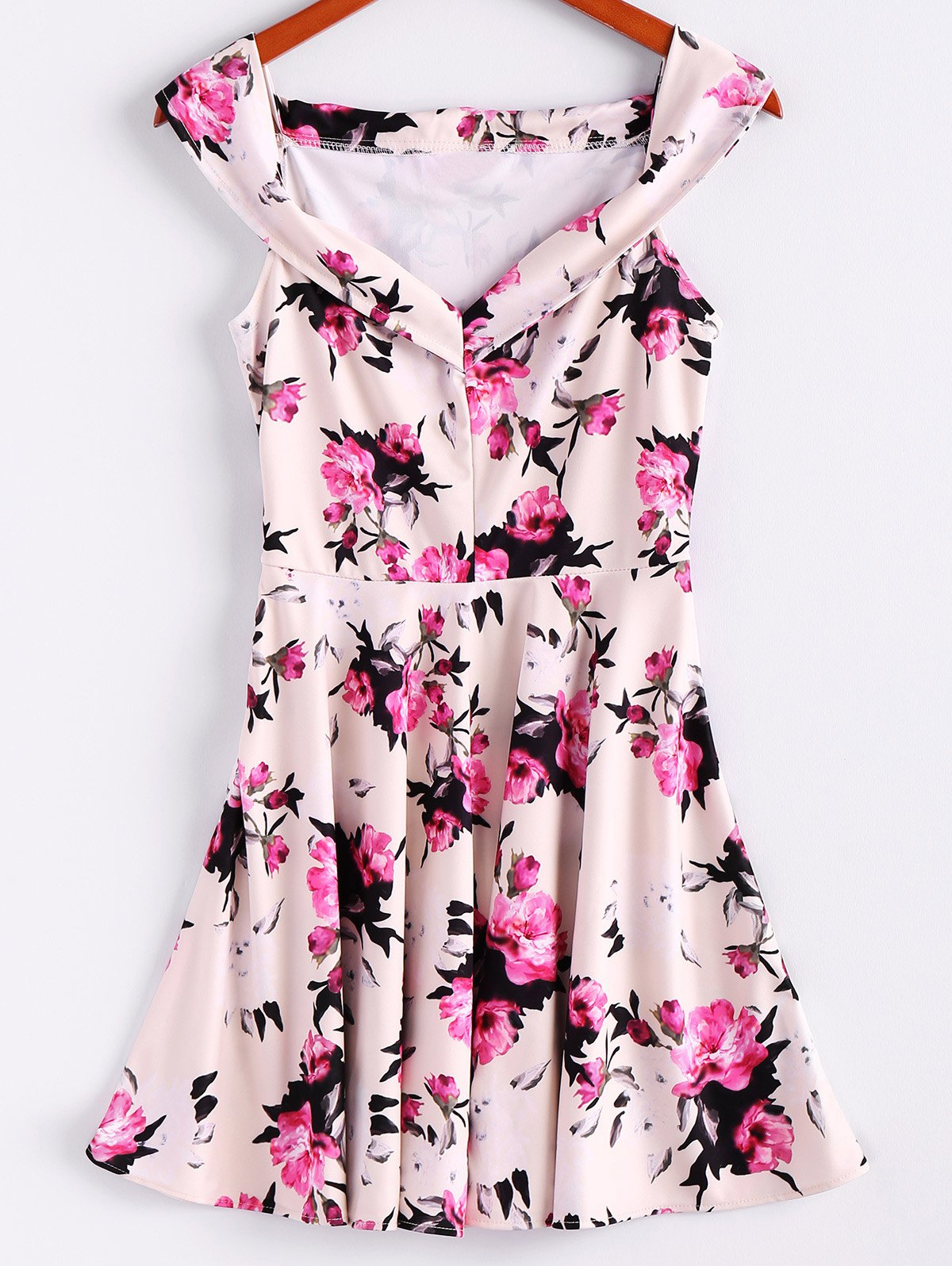 Floral Print Sleeveless Waisted A Line Dress