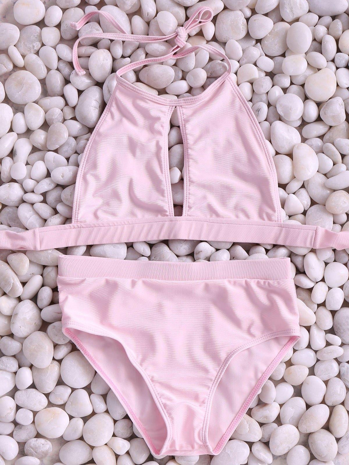 High Neck Pink Cut Out Bikini Set
