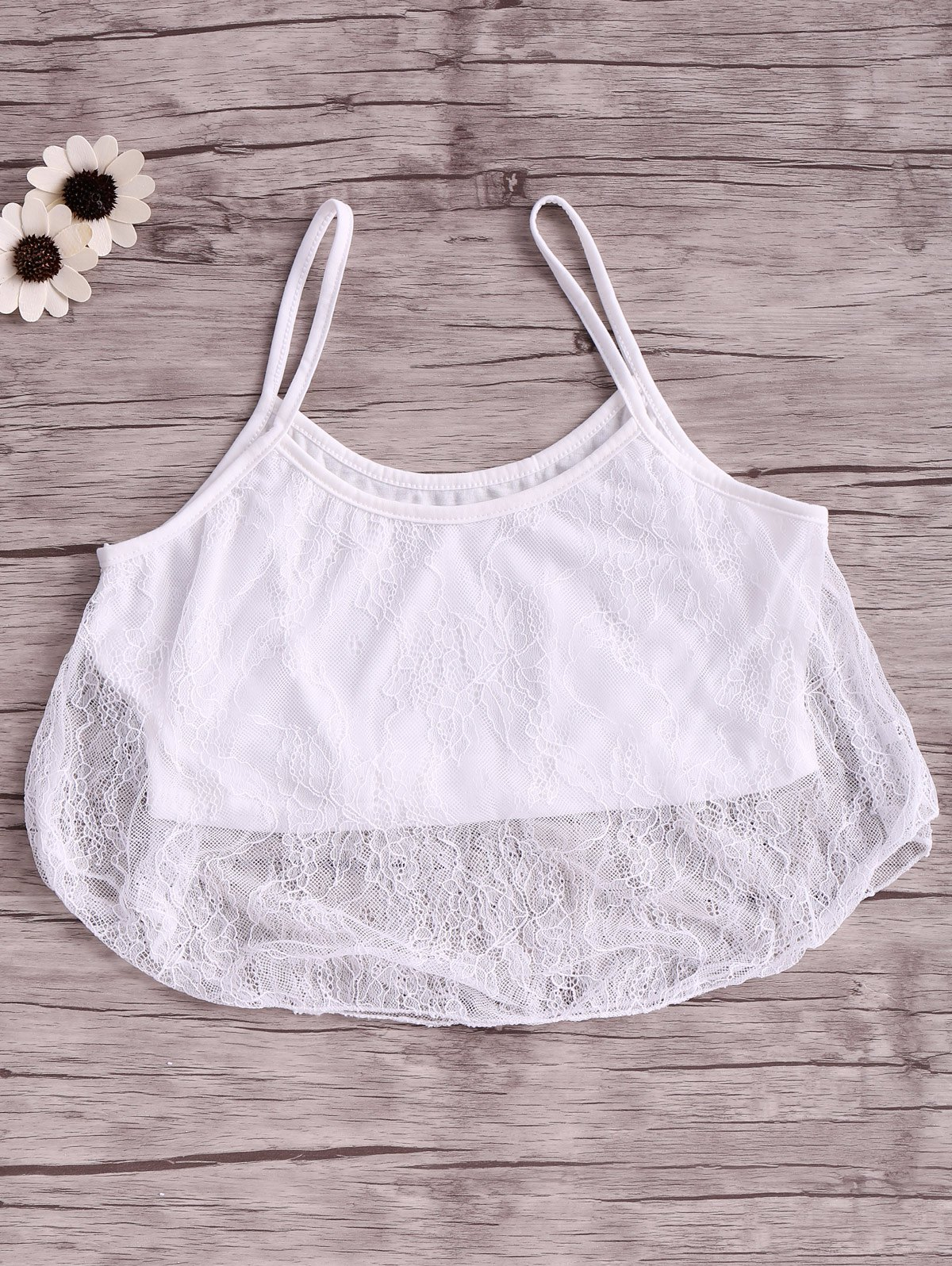 Cami Sleeveless White Lace Splicing Crop Top