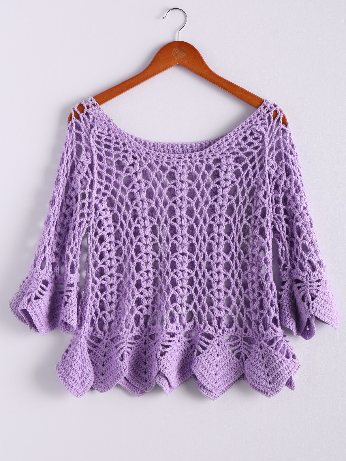 Solid Color Cut Out Round Collar Butterfly Sleeve SweaterClothes<br><br><br>Size: ONE SIZE(FIT SIZE XS TO M)<br>Color: PURPLE