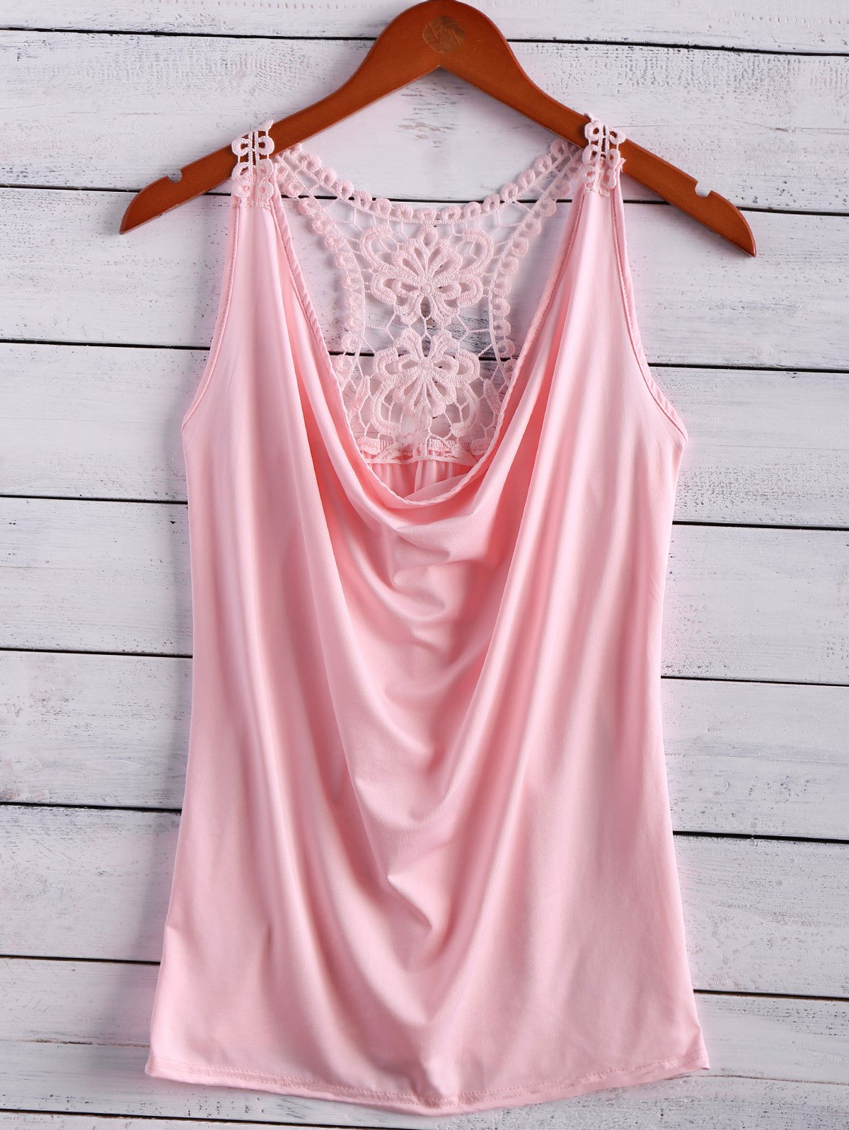 Lace Spliced Cowl Collar Tank Top