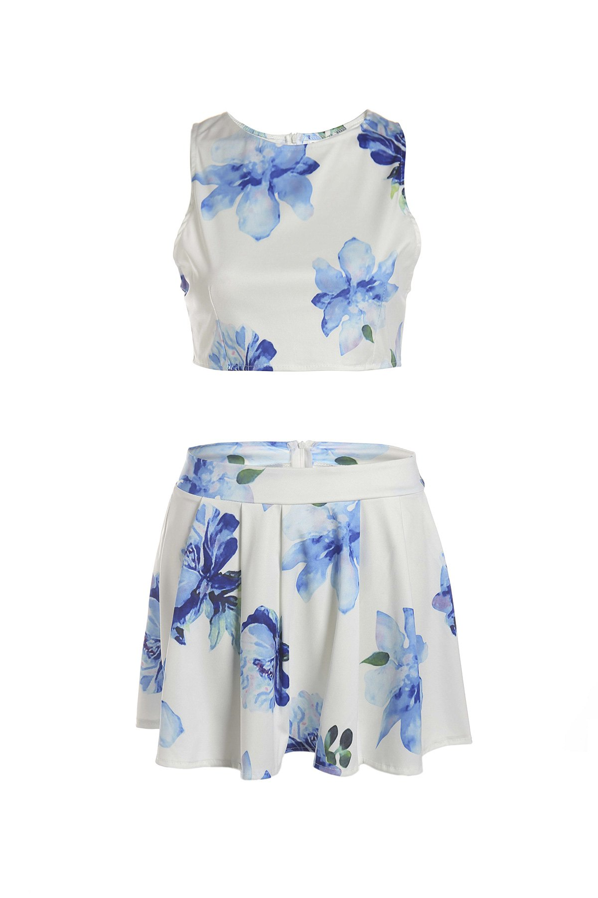 floral sleeveless crop top and a line skirt suit white