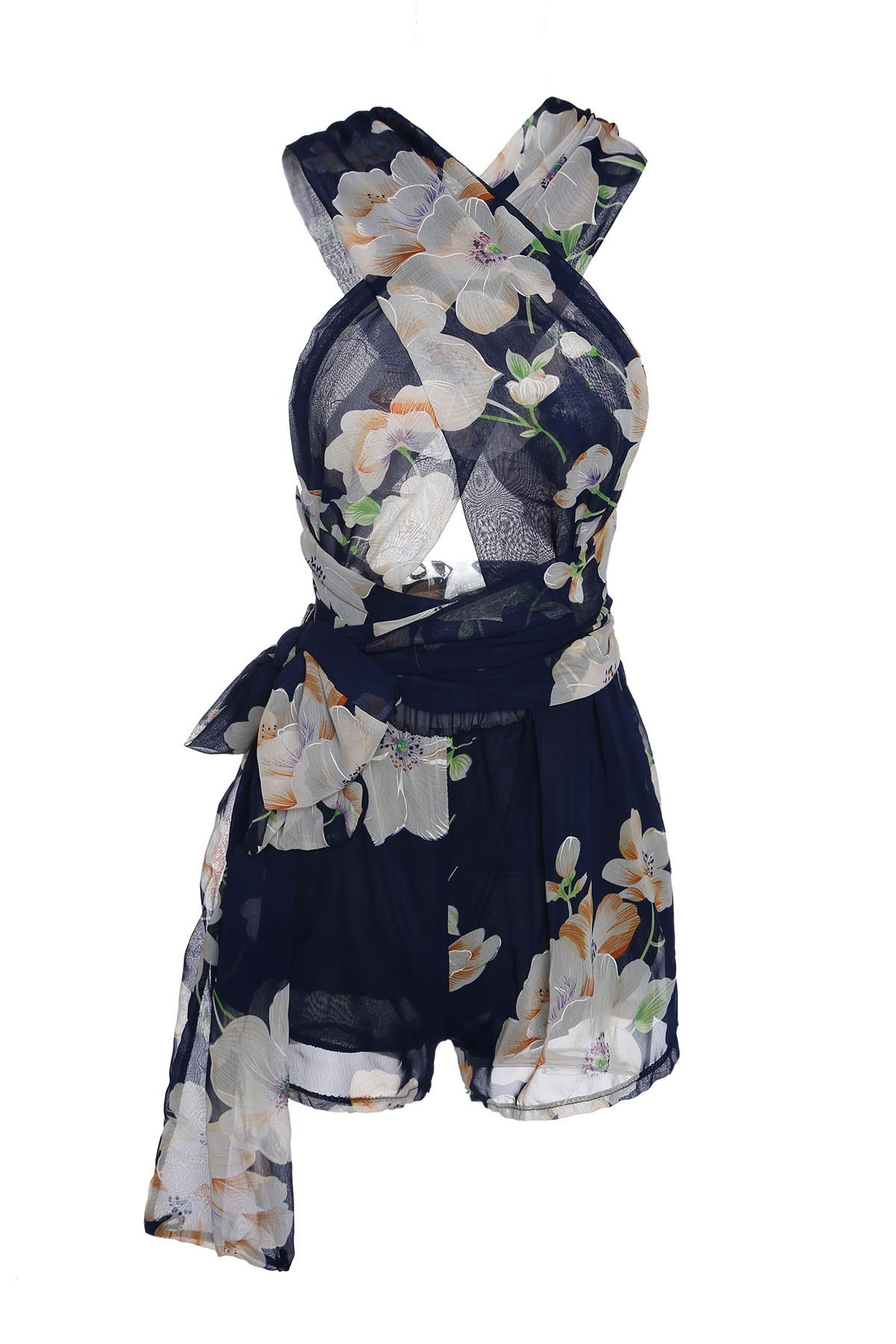 Plunging Neck Sleeveless Floral Print Self-Tie Romper