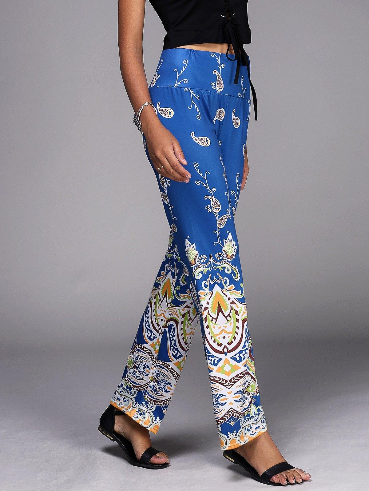 Vintage Mid-Waisted Paisley Pattern Wide Leg Women's Exumas Pants