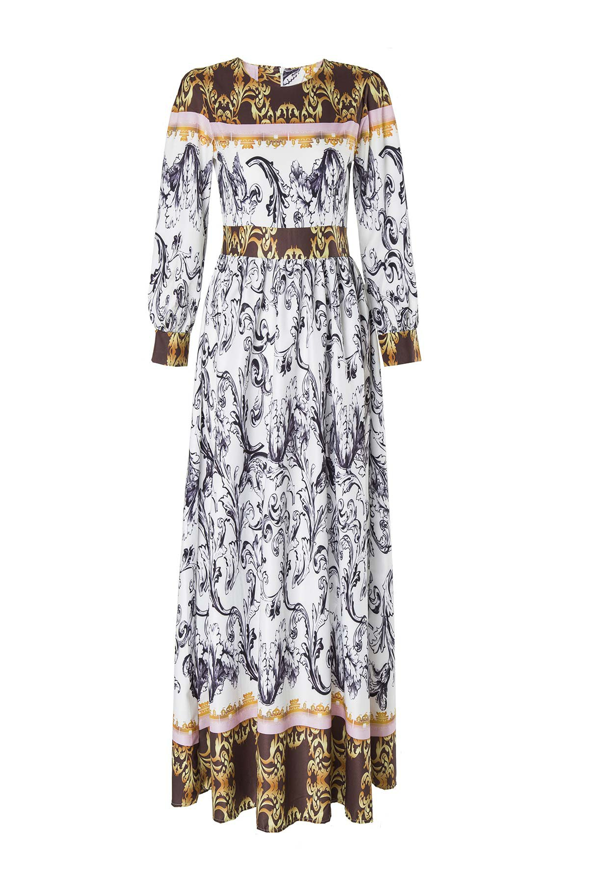 Abstract Printed Long Sleeve Dress