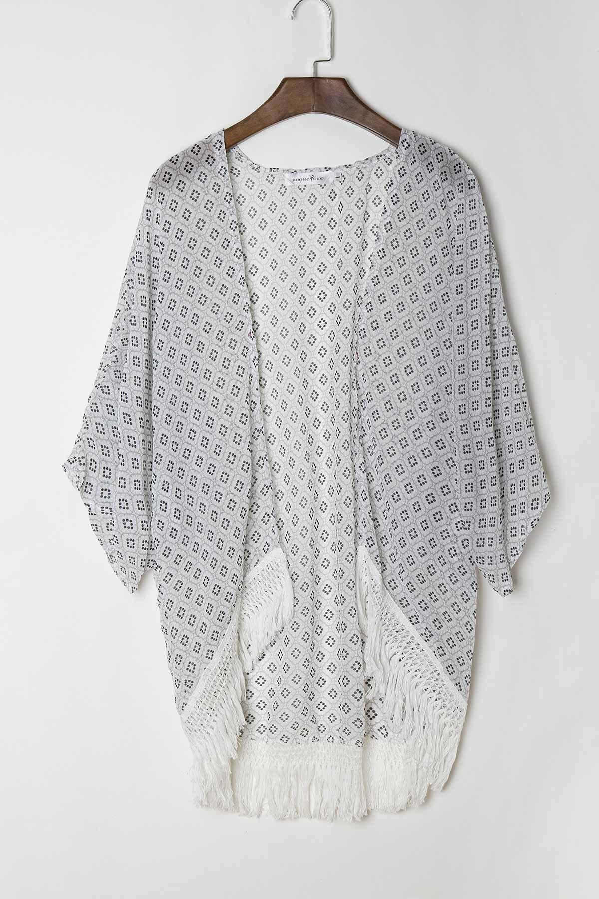 Collarless 3/4 Sleeve Polka Dot Print Kimono