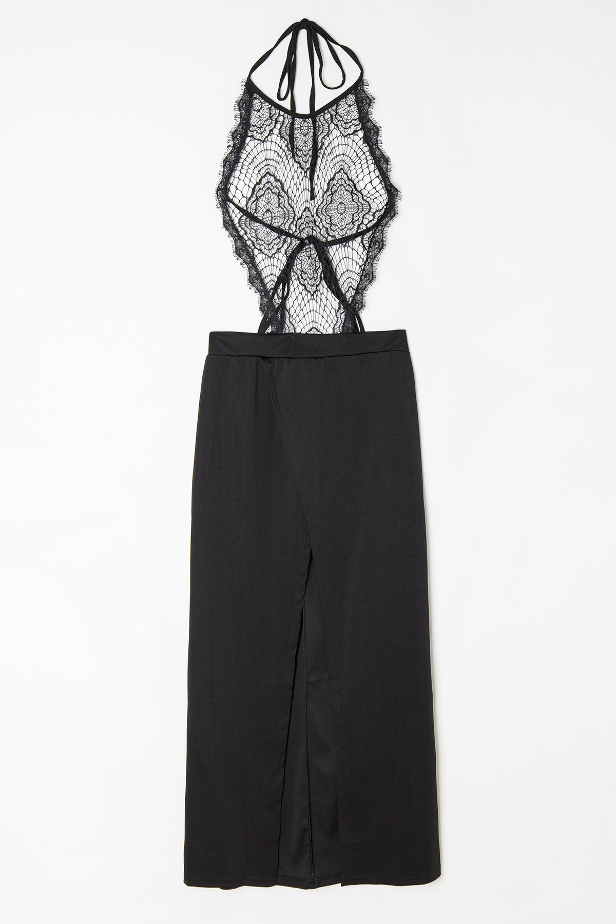 Halter Neck See-Through Lace Splicing Dress - BLACK S