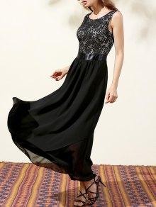Lace Bodice Maxi Prom Dress