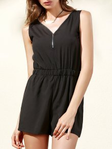 Sleeveless Zip Up Romper - Black L