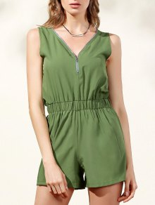 Sleeveless Zip Up Romper - Army Green M