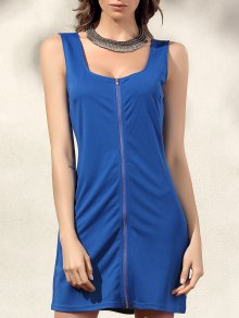 Bodycon Zip Dress - Blue Xl