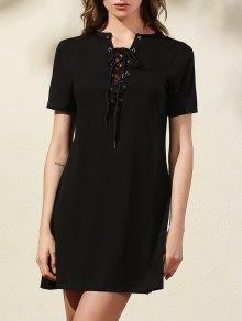 Lace-Up Solid Color Dress - Black