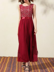 Lace Bodice Maxi Prom Dress