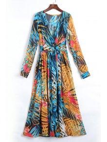Tropical Print Maxi Chiffon Dress - Blue