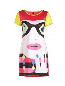 Cartoon Print Colorful High-Low Hem Dress