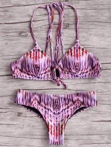 Print Halter Lace Up Bikini Set