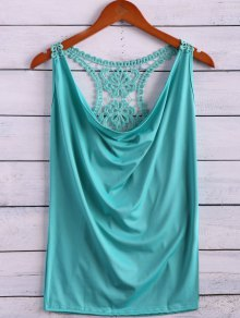 Lace Spliced Cowl Collar Tank Top - Light Green M