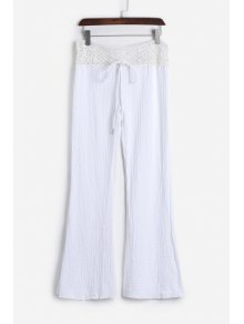 Lace Waist White Flare Pants - White