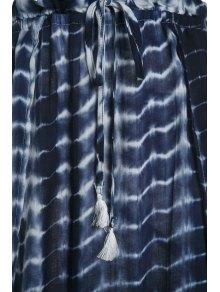 Halter Self-Tie Crop Top and High Slit Tie-Dyed Skirt Suit - BLUE S