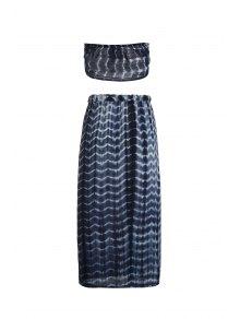 Halter Self-Tie Crop Top and High Slit Tie-Dyed Skirt Suit
