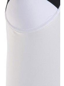 Halter Neck Black White Splicing Swimwear - WHITE/BLACK S