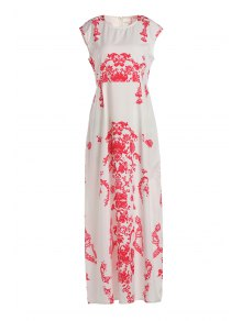 Floral Print Floor-Length White Dress