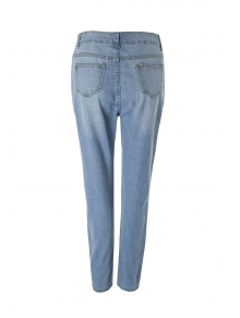 Bleach Wash Wrapped Jeans - DEEP BLUE S