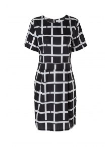 Plaid Short Sleeve Dress - Black M