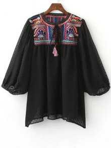 Embroidered Plumetis Top