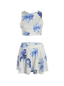 Floral Sleeveless Crop Top and A Line Skirt Suit