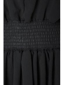 Flare Sleeve Layered Plus Size Chiffon Dress - BLACK 4XL
